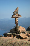 Stone man over sea bay. On Corsica Stock Photo