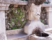 Stone marble fountain with face shape stock image