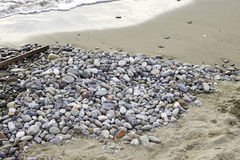 Stone on marinella beach in liguria Royalty Free Stock Photography