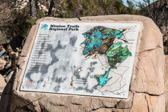 Stone Marker for Trail System at Mission Trails Regional Park stock image