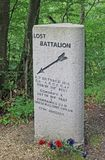 Stone marking site of WW1 US 'Lost Battalion', Argonne Forest, France Stock Photo