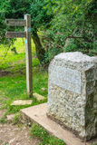 Stone marking the spring source of the River Thames in Glouceste Stock Photos