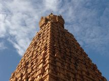 Stone marvel of Tanjore. This is the main tower of the famous Tanjore Big temple in India stock photos