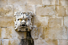 Stone mask figure on ancient fountain, architectural detail of o Stock Photography