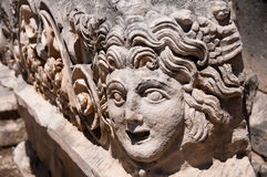 Stone mask in Myra (Turkey ) Royalty Free Stock Photography