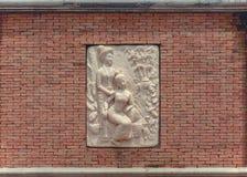Stone masonry orange Royalty Free Stock Photo