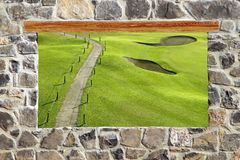 Stone masonry wall window golf course view Royalty Free Stock Image