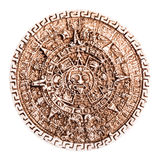 Stone maya calendar. Coaster souvenir from mexico isolated over a white background Stock Photography