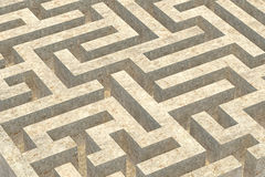 Stone maze. The tortuous stone labyrinth background royalty free illustration