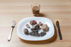 Stone meal on a table Royalty Free Stock Image