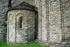 Stone medieval church. In Tuscany, Italy royalty free stock photo