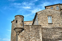 Stone, medieval walls and buildings. In Aubenas, France royalty free stock image
