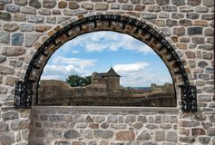 Stone medieval window overlooking the Fortress of the Suceava ci royalty free stock photography