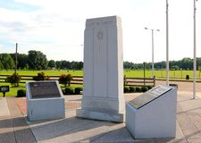Stone Memorial Pillars at A Veteran's Park in Memphis Tennessee Stock Image