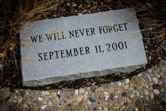 Stone memorial to September 11, 2001. Stock Photos