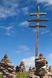 Stone men in the alps, Italy Stock Photo