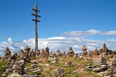 Stone men in the alps, Italy Royalty Free Stock Images