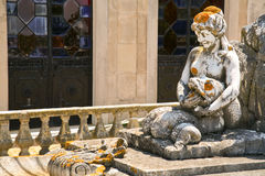 Stone mermaid - fragment of old fountain Royalty Free Stock Photography