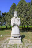 Stone minister statue in the Eastern Royal Tombs of the Qing Dyn Stock Photos
