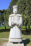 Stone minister statue in the Eastern Royal Tombs of the Qing Dyn Stock Images