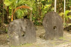 Stone Money. Traditional Stone Money on the Island of Yap in the Federate States of Micronesia in the Pacific ocean Stock Photos