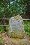 Stone monument in the forest Stock Image