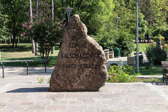 Stone monument at the park. Salsomaggiore Royalty Free Stock Images
