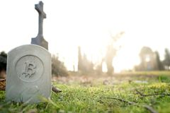 Stone monument/tombstone with bitcoin symbol standing in green grass on cementery in front of stone cross - wide angle view. Sunny blurred background with Stock Photos