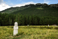 Stone monuments of kazakh woman in Borovoe, Burabay National park, Northern Kazakhstan. Stock Images