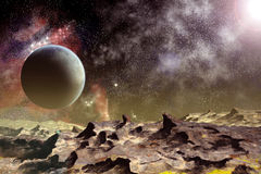 Stone moon and planet. Stone moon with shadow and planet in  star field Royalty Free Stock Photos