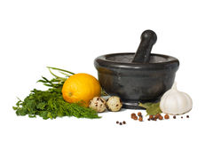 Stone Mortar And Pestle Bowl Stock Photography