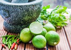 Stone mortar with ingredients food Royalty Free Stock Photo