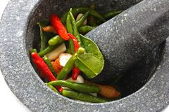 Stone mortar and pestle Royalty Free Stock Image