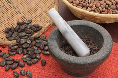 Stone mortar and pestle with cacao Royalty Free Stock Image