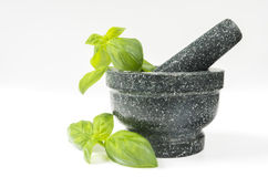 Stone mortar. And pestle, exotic cooking tool Royalty Free Stock Image