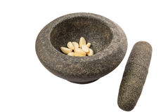 Stone Mortar, Pestle And Garlic V Stock Photos
