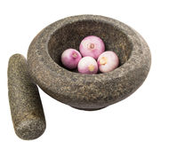Stone Mortar And Pestle With Onions IV Stock Photos