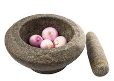 Stone Mortar And Pestle With Onions V Stock Image
