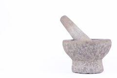 Stone mortar and pestle are Thai cooking tool on white background food isolated Royalty Free Stock Photos