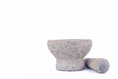 Stone mortar and pestle are Thai cooking tool on white background food isolated Royalty Free Stock Images