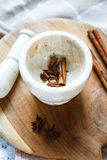 Stone mortar for spices: cinnamon and star anise Royalty Free Stock Photos
