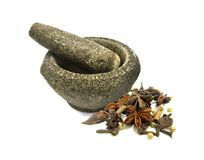 Stone Mortar And Spices Stock Photos