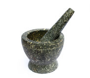 Stone mortar. On white background Stock Photography