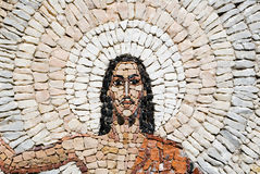 A stone mosaic of Jesus Christ resurrection. A fragment of a stone mosaic of Jesus Christ resurrection royalty free stock photography