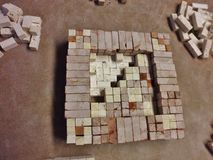 Stone mosaic in the laboratory stock image