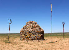 Stone mound in steppe of Inner Mongolia Royalty Free Stock Photos