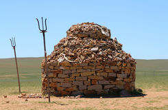 Stone mound in steppe of Inner Mongolia, China Royalty Free Stock Photography