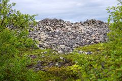 Stone mounds - artificial stone mounds of small boulders on the Bolshoy Zayatsky Island. Solovetsky archipelago, White sea, Russia stock photo