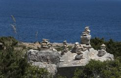 Stone mounds in the south coast of the island of majorca Royalty Free Stock Photo