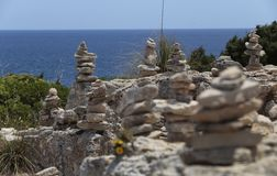 Stone mounds in the south coast of the island of majorca Stock Photo